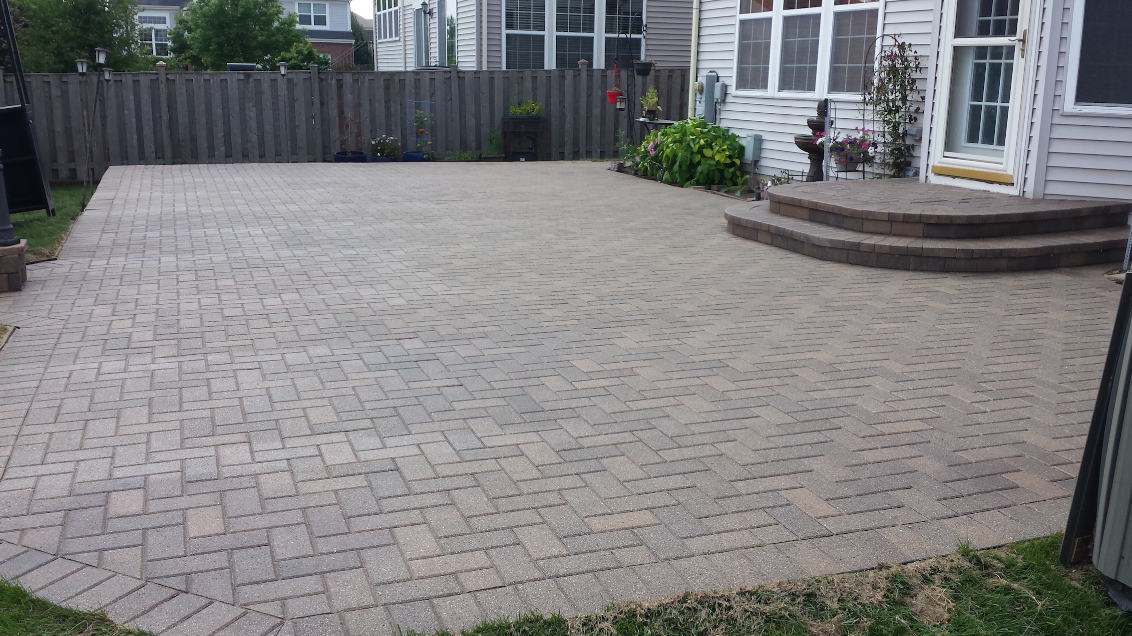 Before and after clean sand seal weed removal by Paver Protector