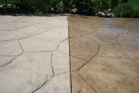 STAMPED CONCRETE PATIO CLEANING & SEALING IN ST. CHARLES, IL